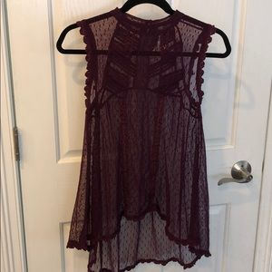 FREE PEOPLE SHEER LACED TUNIC size S